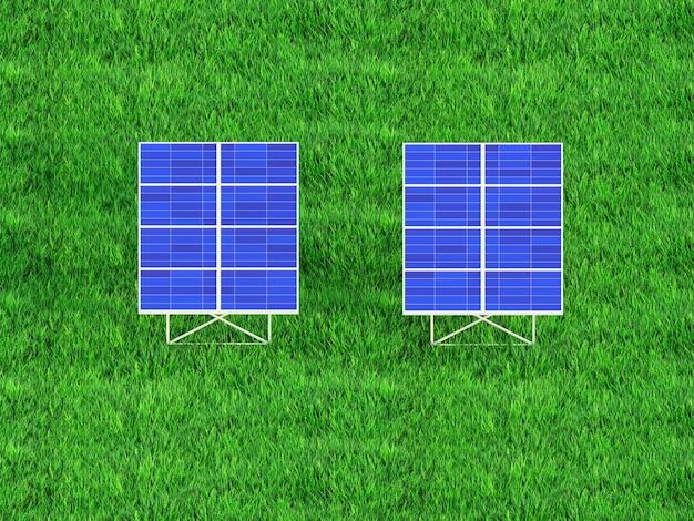 Sonnenkollektoren auf dem himmelshintergrund sonnenkraftwerk blaue sonnenkollektoren 3d render