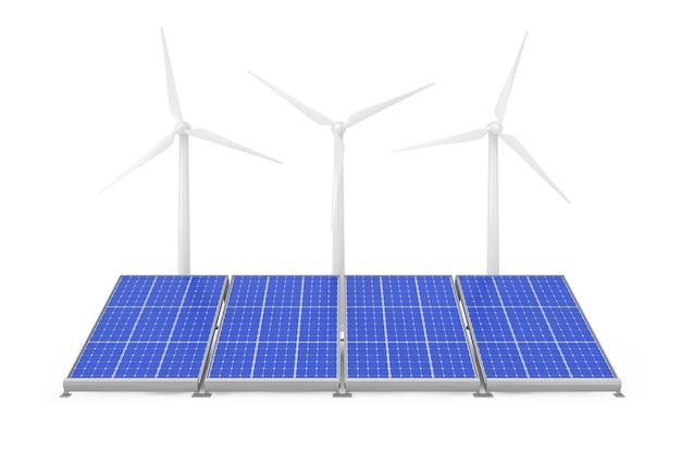 Sonnenkollektoren und windkraftanlagen auf weißem hintergrund. 3d-rendering