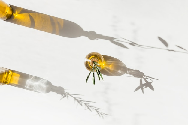 Sonnenlicht, das auf die olivenölflaschen auf weißem hintergrund fällt