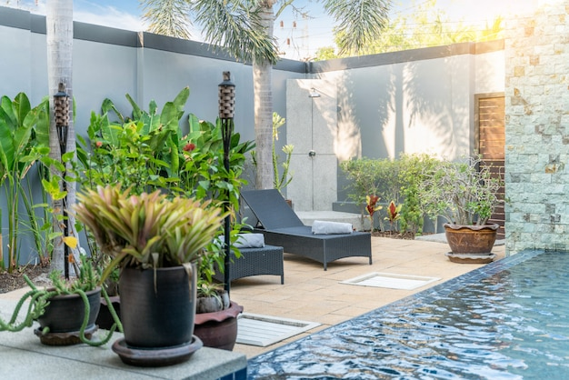 Sonnenliege mit grünpflanzen im haus oder im wohnhaus