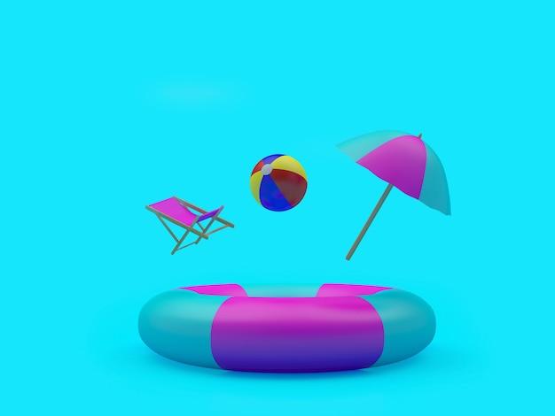 Sonnenschirm mit liegestuhl und ball fallen in einen großen rettungsring