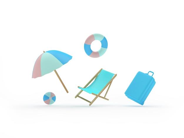 Sonnenschirm mit reisekoffer und sonnenliege