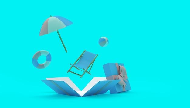 Sonnenschirm mit sonnenliege fliegen aus einer geschenkbox