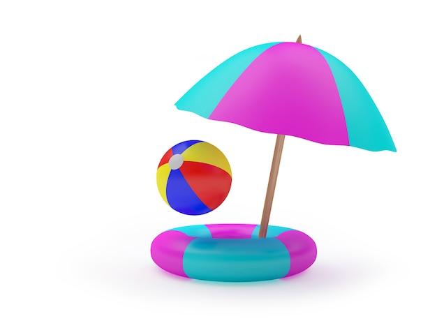 Sonnenschirm und ball in einem rettungsring