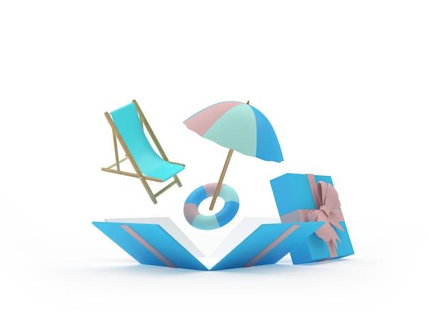 Sonnenschirm und sonnenliege mit rettungsring in einer offenen geschenkbox