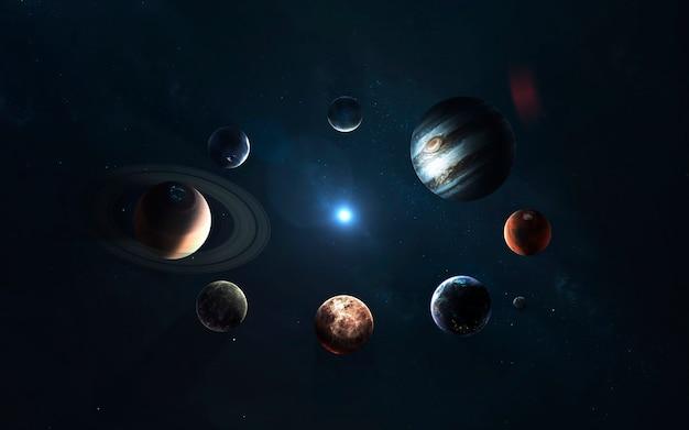Sonnensystem. symbol der weltraumforschung.