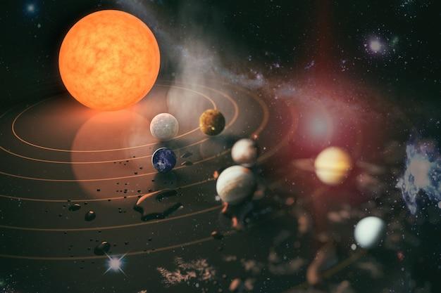 Sonnensystemplanet, komet, sonne und stern. sonne, quecksilber, venus, planet erde, mars, jupiter, saturn, uranus, neptun. elemente dieses von der nasa bereitgestellten bildes.