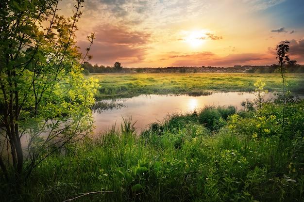 Sonnenuntergang am fluss mit grünem gras und bäumen am ufer