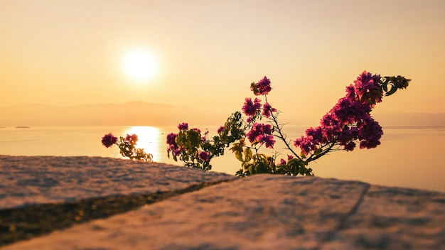 Sonnenuntergang am ionischen meer in griechenland