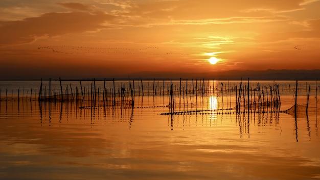 Sonnenuntergang in albufera von valencia.