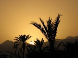 Sonnenuntergang in fujairah, landschaft