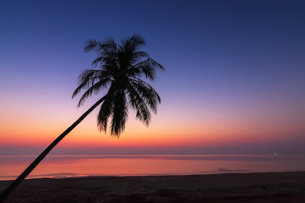 Sonnenuntergang über dem tropischen strand mit kokospalme und boot bei chumphon
