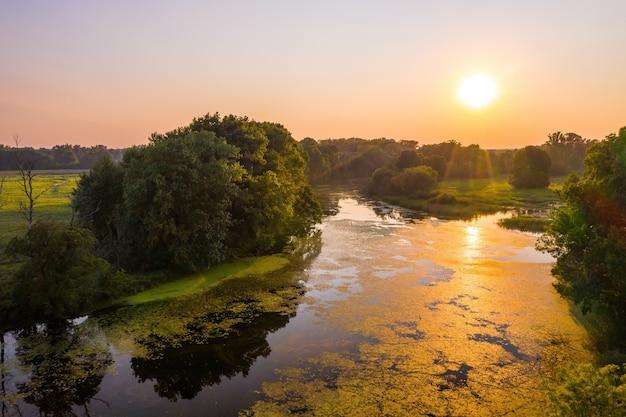 Sonnenuntergang über einem fluss und bäumen in der sommernatur