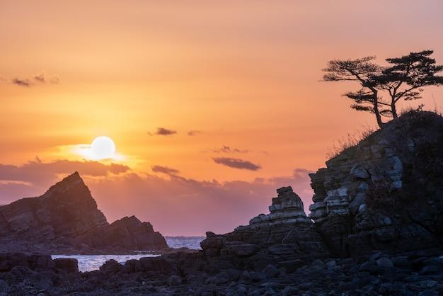 Sonnenuntergang über felsiger insel mit kiefern