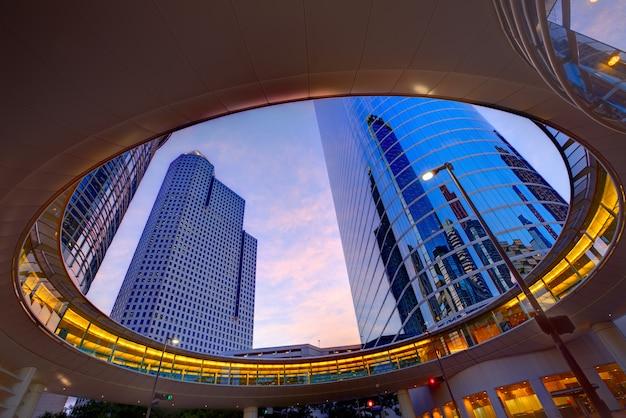 Sonnenuntergang-wolkenkratzer texas downtown downtown