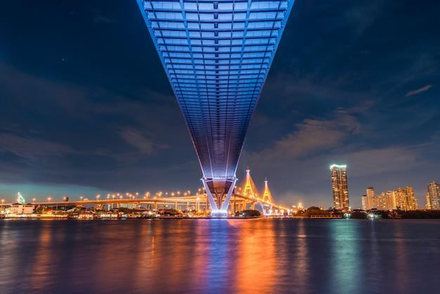 Sonnenunterganglandschaftsansicht von unterhalb der straßenbrücke