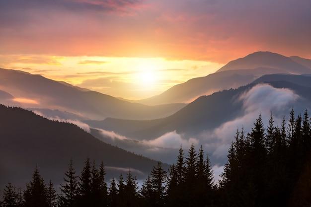 Sonnenuntergangslandschaft mit hohen berggipfeln und nebligen tal unter lebendigem buntem abendhimmel.