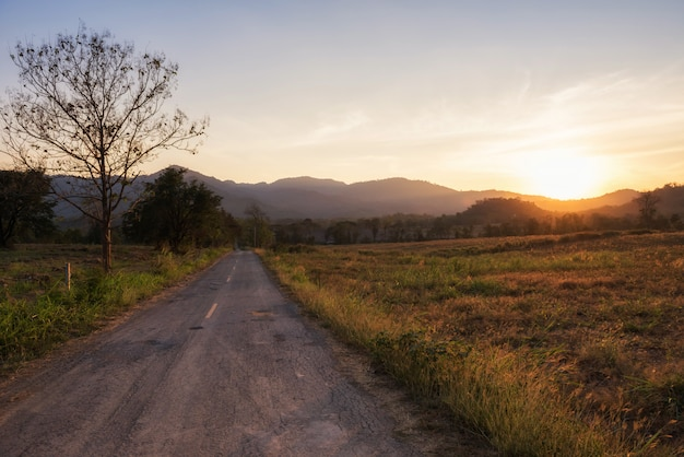 Sonnenuntergangszenen auf der landstraße