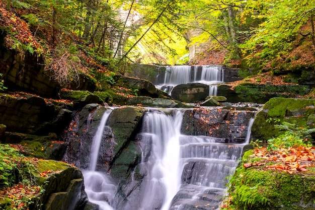 Sonniger tag im sommerwald. kleiner fluss und mehrere natürliche wasserfälle. bogen einer alten steinbrücke