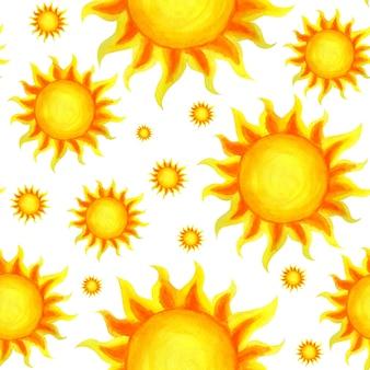 Sonniges nahtloses muster nettes sonniges handgezeichnetes karikaturmuster lokalisiert auf einem weißen hintergrund