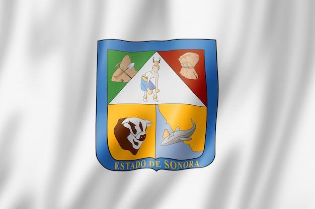 Sonora staatsflagge, mexiko wehende bannersammlung. 3d-darstellung