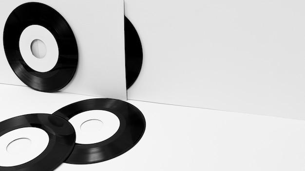 Sortiment an vinylverpackungen mit kopierraum