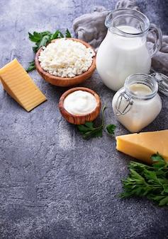 Sortiment verschiedener milchprodukte.