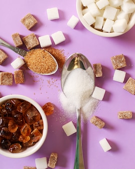 Sortiment verschiedener zuckersorten