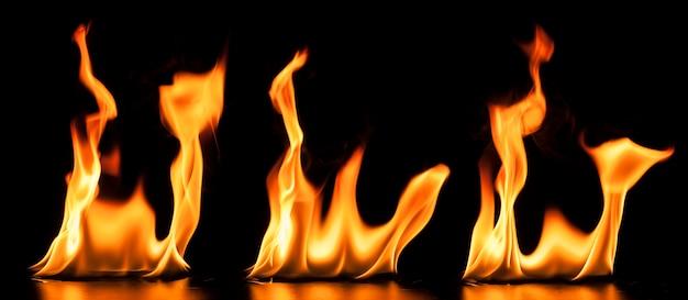 Sortiment von drei gefährlichen flammen