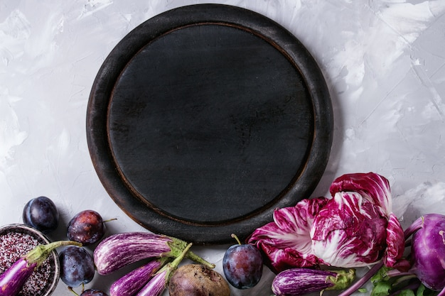 Sortiment von violettem gemüse Premium Fotos