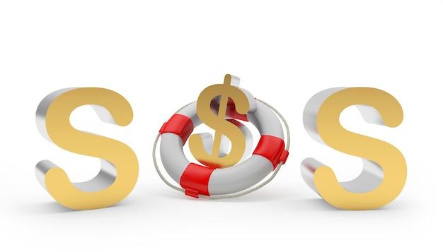 Sos-symbol und dollarzeichen in einem rettungsring 3d