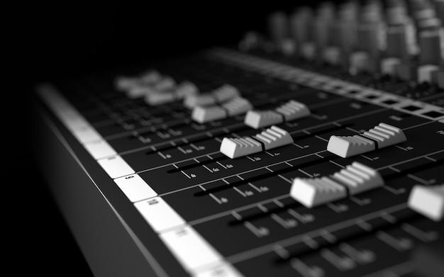 Sound studio ausrüstung. 3d rendern