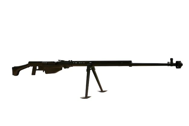 Sowjetisches panzerabwehrgewehr des zweiten weltkriegs isoliert auf weißem hintergrund