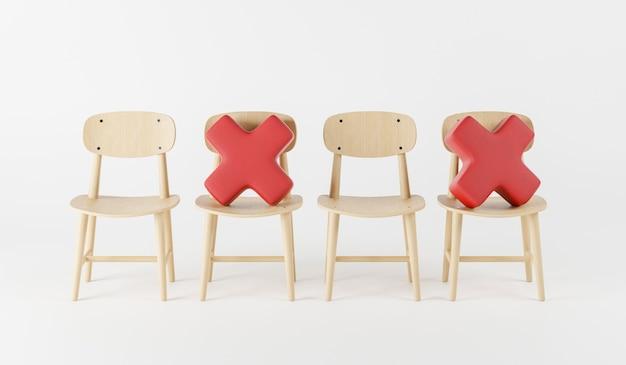 Sozial distanzierender holzstuhl mit rotem kissen