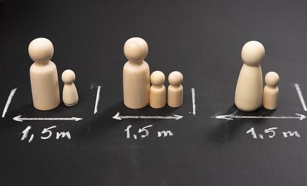 Soziales distanzierungskonzept bei pandemien und epidemien, kontaktvermeidung, holzfiguren und kreidezeichen