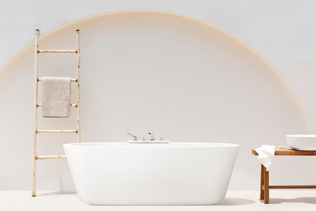 Spa-behandlungsset in minimalistischem badezimmer-interieur