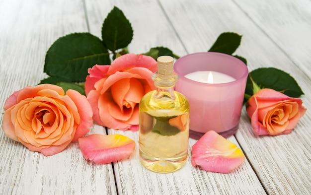 Spa-konzept mit rosa rosen