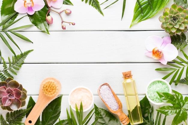 Spa-kosmetikproduktkonzept, spa-hintergrund mit platz für einen text, flache lage, ansicht von oben.