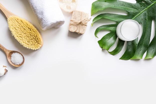 Spa-set für cellulite-massage, naturkosmetik, baumwolle zero waste für die körperpflege