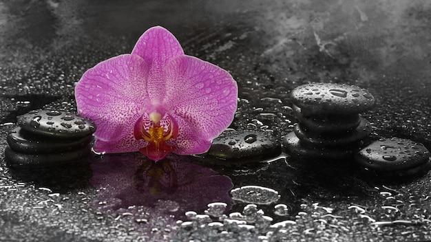 Spa-steine und orchideen auf einem dunklen tisch mit wassertropfen und reflexion.
