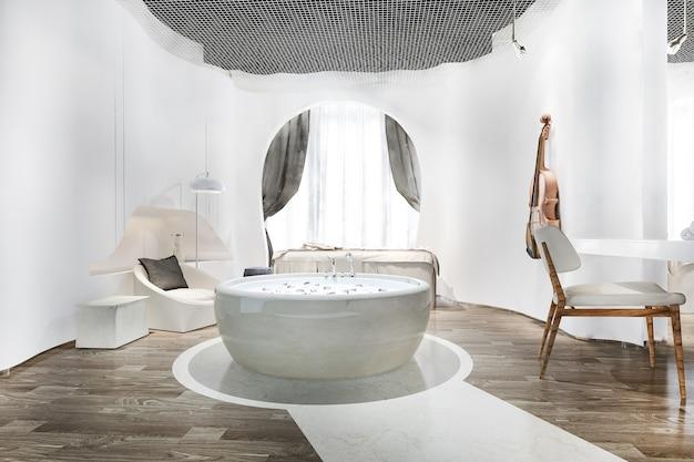 Spa und massage wellness in der hotelsuite mit badewanne