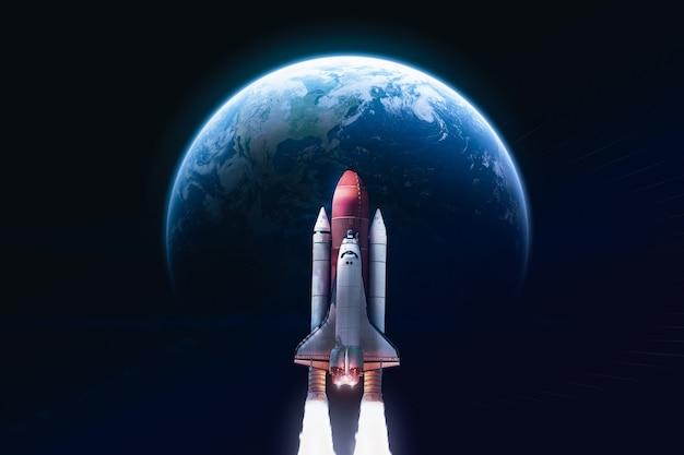 Space shuttle in der nähe des planeten erde raumschiff elemente dieses bildes