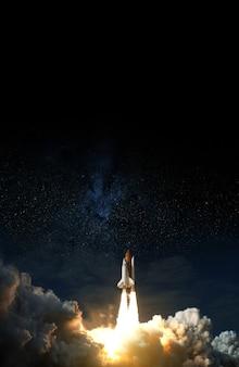 Space shuttle startet in den weltraum. elemente dieses bildes von der nasa eingerichtet.