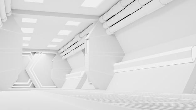 Spaceship corridor ist ein stock-motion-graphics-video, das das innere eines sich bewegenden raumschiffs zeigt. der pov auf dem flur. 3d-rendering