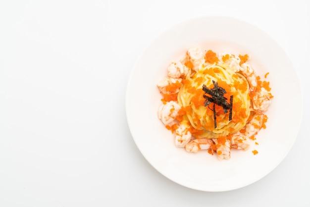 Spaghetti cremig mit garnelen und garneleneiern