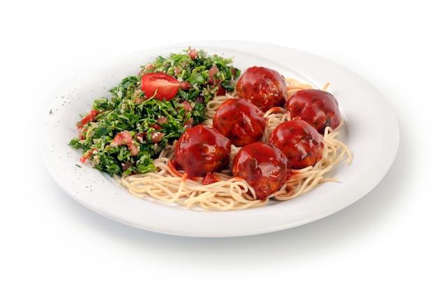 Spaghetti und tabulatsalat