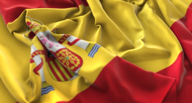 Spanien flagge gekräuselt schön waving makro nahaufnahme shot