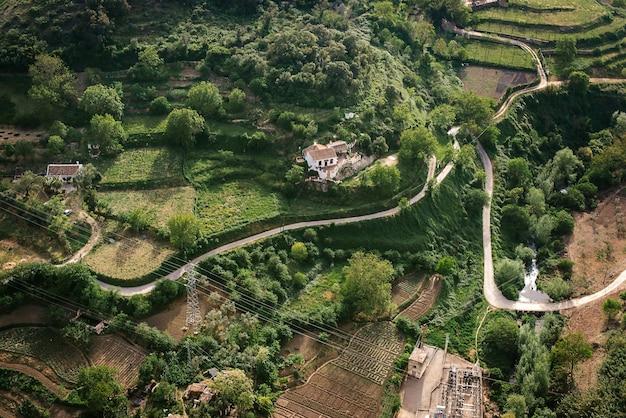 Spanien, ronda, luftblick auf bäume auf landschaft
