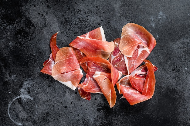 Spanischer jamon serrano, schinken, draufsicht