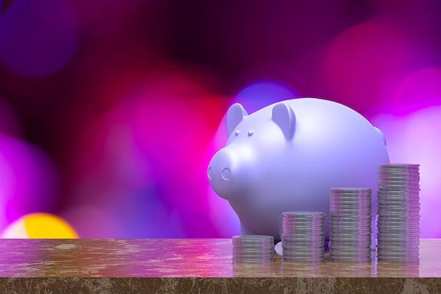 Sparendes erwachsenes konzept, münzen stapeln sich mit sparschwein